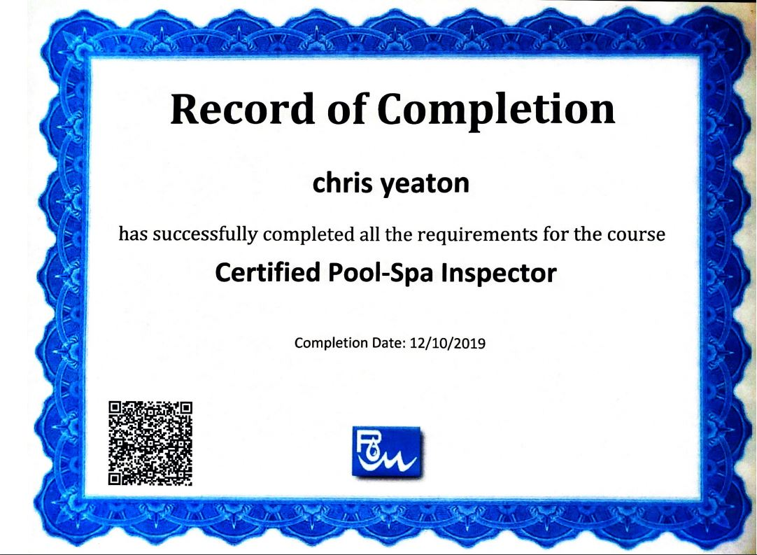 Certified Pool and Spa Inspector Hawaii - Chris Yeaton